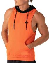 PAIZH Men's Sleeveless Hoodies Gym Workout Hooded Muscle Tank Tops with Mesh Back