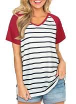 Womens Casual V Neck Short Sleeve T Shirts Summer Side Split Tunic Tops
