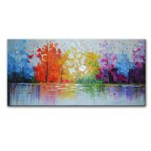 """EVERFUN ART Hand Painted Palette Knife Oil Painting Modern Abstract Wall Art Hanging Lake Scenery Landscape Canvas Picture Framed Ready to Hang 40"""" W x 20"""" H"""