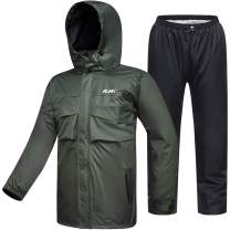 ILM Motorcycle Rain Suit Waterproof Wear Resistant 6 Pockets 2 Piece Set with Jacket and Pants Fits Men Women (Men's 2X-Large, Army Green)