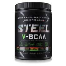 Steel Supplements V-BCAA Vegan High Performance BCAA Powder Soy Free, Gluten Free Build Lean Muscle, Burn Fat 30 Servings (Kiwi Strawberry)