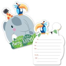 Jungle Party Animals - Shaped Fill-in Invitations - Safari Zoo Animal Birthday Party or Baby Shower Invitation Cards with Envelopes - Set of 12