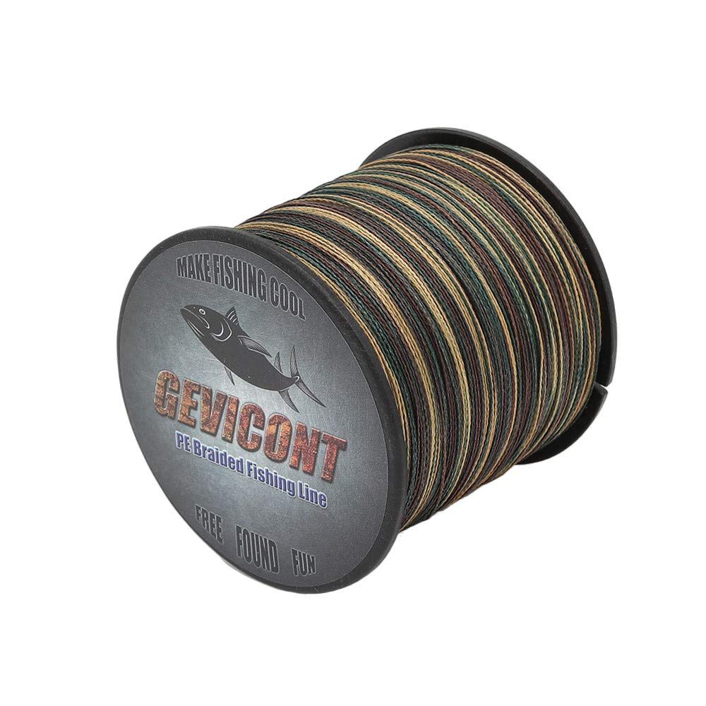GEVICONT Superbraid Fishing Lines Zero Memory Fishing Equipment Weaves PE 8-Strand 109yds/100m 328yds/300m 547yds/500m 1094yds/1000m 10lbs-300lbs Multiple Colors Available for Shark Fishing