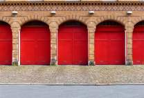 AOFOTO 10x7ft Vinyl Photography Backdrop Red Garage Doors Fire Station Berlinred Brick Wall and Floor Background for Travel Vacation Video Display TV Film Production Parties Events Studio Drapes