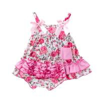 Infant Baby Girls Summer Clothes Set Straps Sundress+Ruffled Shorts Pants