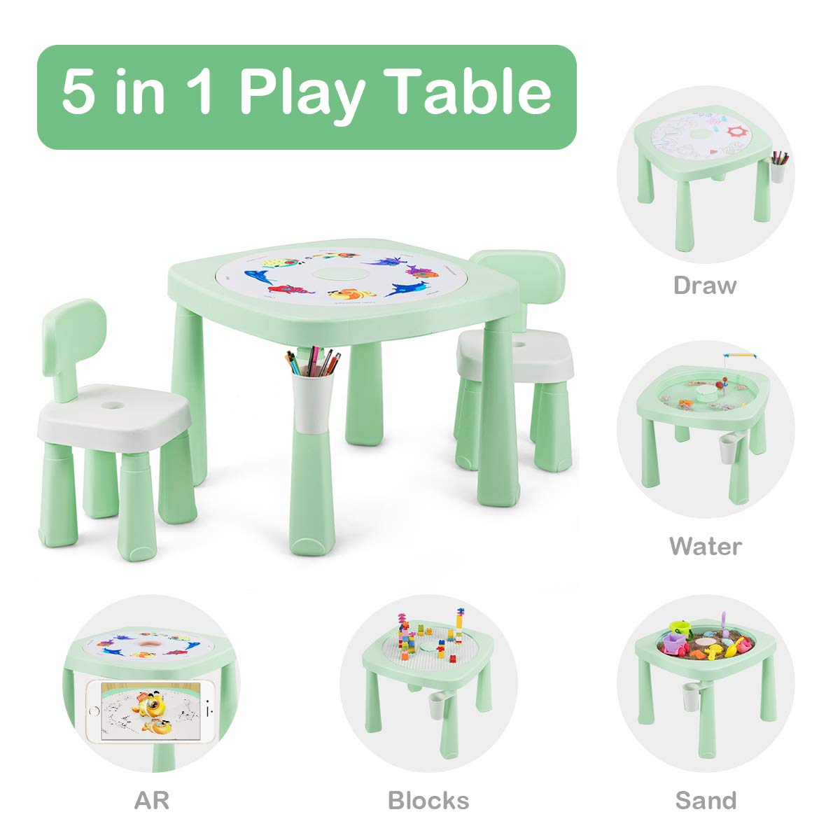 Costzon Kids Table and 2 Chairs Set, 5 in 1 Game Table for Drawing, Playing Sand & Water, Building Blocks, AR Recognition, Children Activity Table w/Pen Holder, Removable Cover, Storage Space (Green)