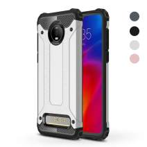 Moto Z4 Play Case, Moto Z4 Case,Dust/Fingerprint Proof Slim Lightweight Design Shock-Absorption Dual Layer Protective Cover + Touch Pen (Silver)