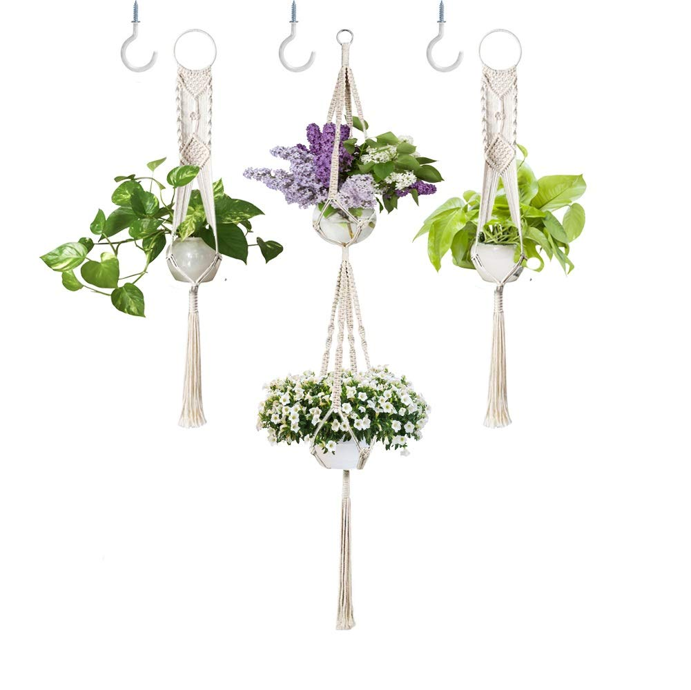 3 Pack Macrame Plant Hanger with Hooks, Different Tiers, Cotton Woven Hanging Planters Set Flower Pot Holder Stand for Indoor Outdoor Home Wall Decor