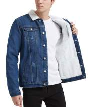 Plaid&Plain Men's Fleece Lined Borg Collar The Sherpa Trucker Jacket Jean Denim Jacket