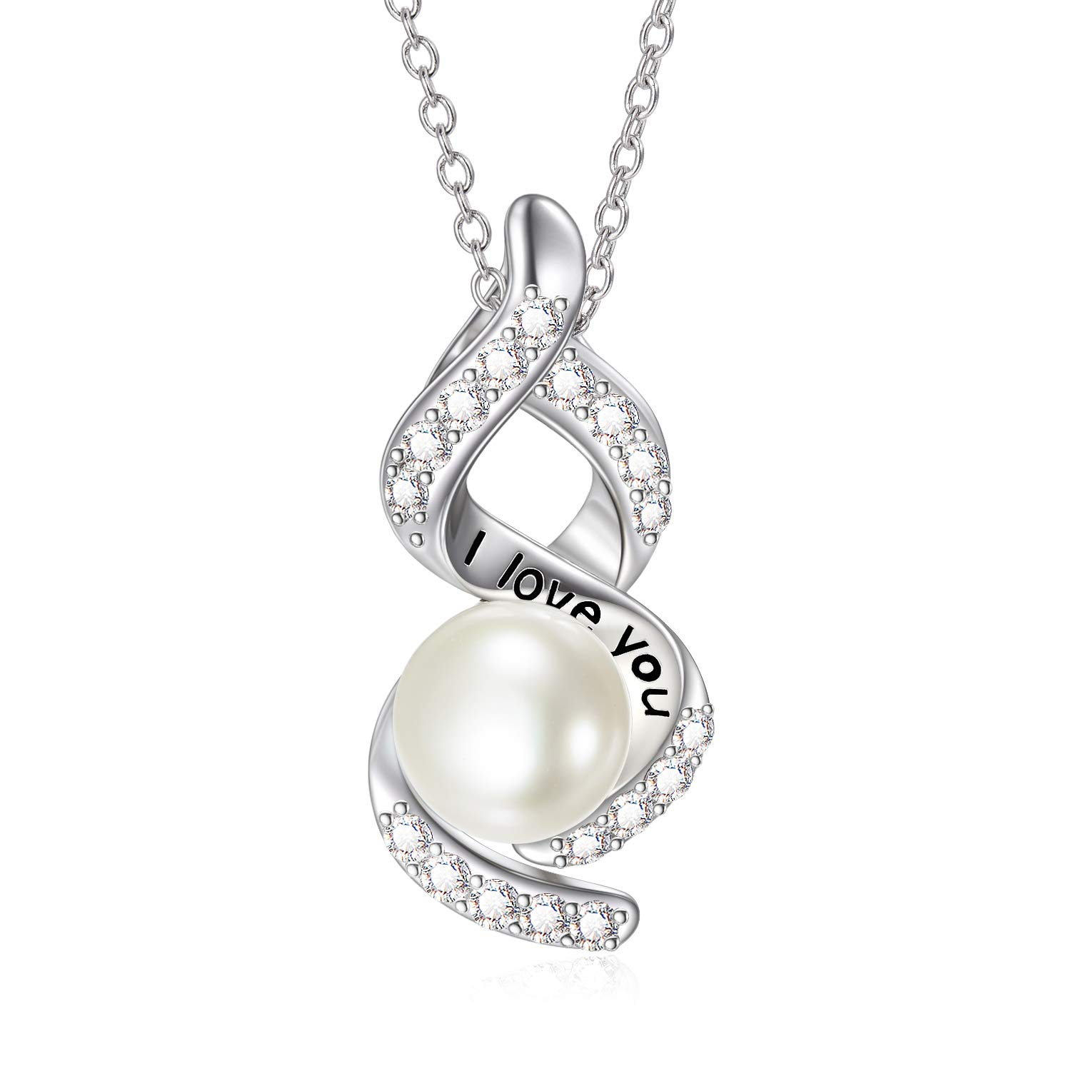 """SISGEM Real Cultured Freshwater Pearl Necklace, Engraved I Love You Infinity Jewelry for Mother Wife Girlfriend, 18"""""""