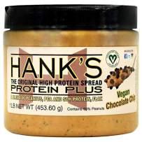 Hank's Protein Plus Vegan Protein Peanut Butter Spread, Chocolate Chip, 1 lb