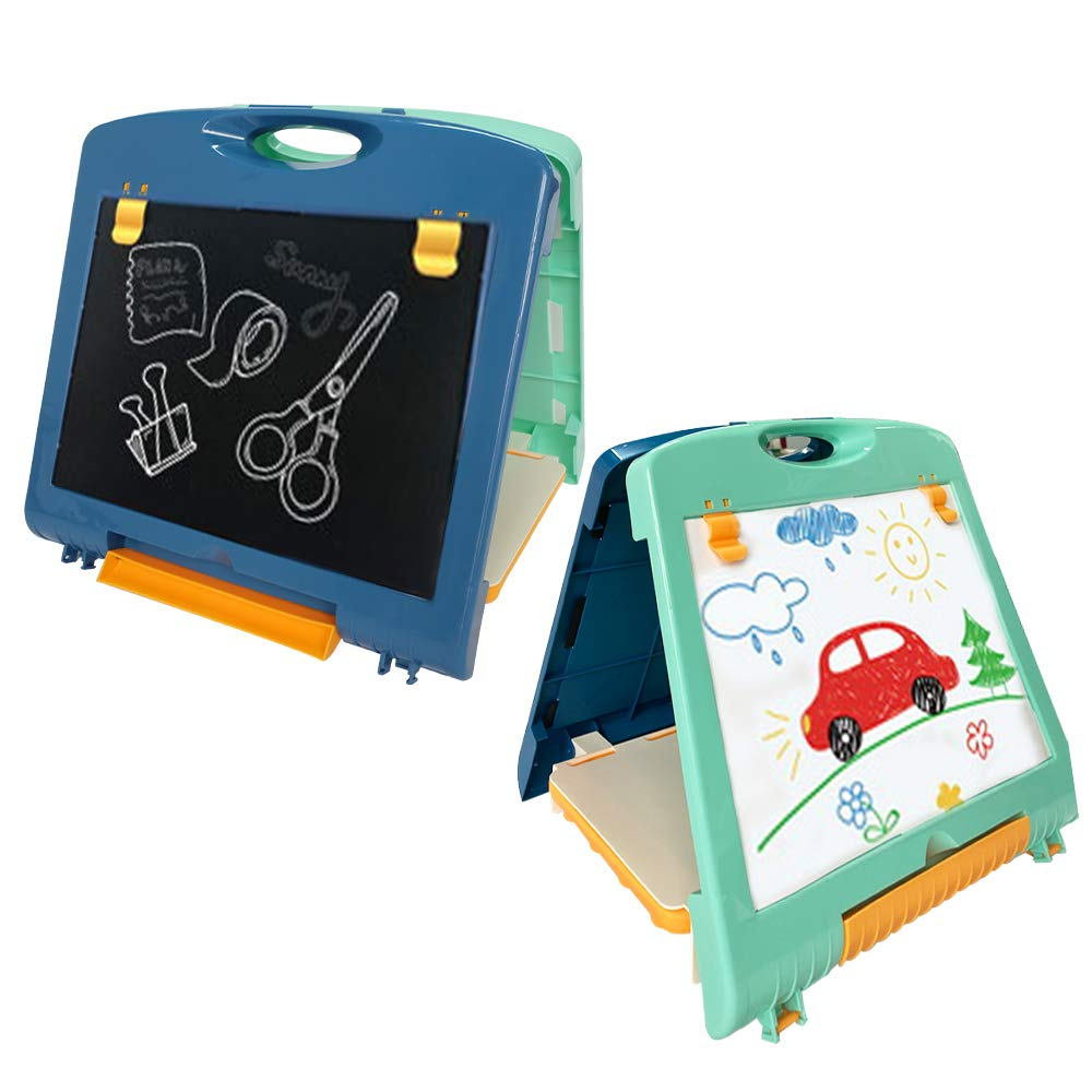 QDH Kids Art Easel U-Stand Double Sided Whiteboard & Chalkboard for Kids Painting Writing Doodle Board Toy Color Educational Toys Travel Art Supplies for Boys Girls