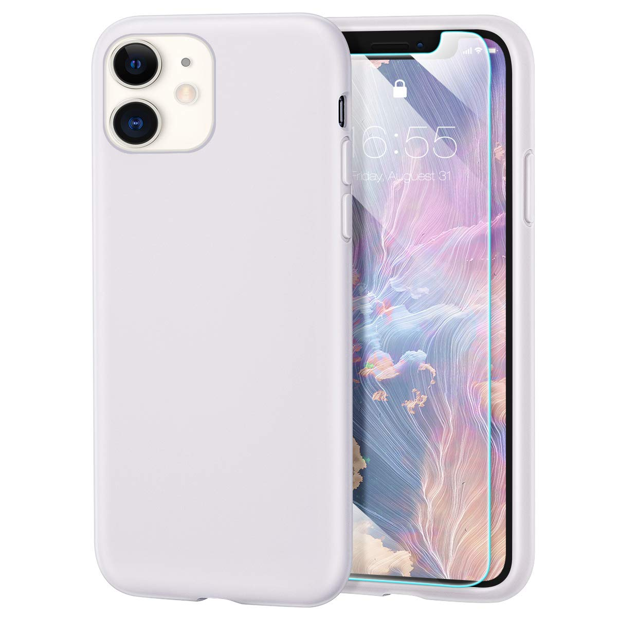 MILPROX iPhone 11 Case with Screen Protector, Liquid Silicone Gel Rubber Shockproof Slim Shell with Soft Microfiber Cloth Lining Cushion Cover for iPhone 11 6.1 inch (2019)-White