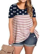 YONYWA Plus Size Womens Tops Casual Stripes and Stars Print Tee Shirt American Flag Short Sleeve Loose Tunic Shirts