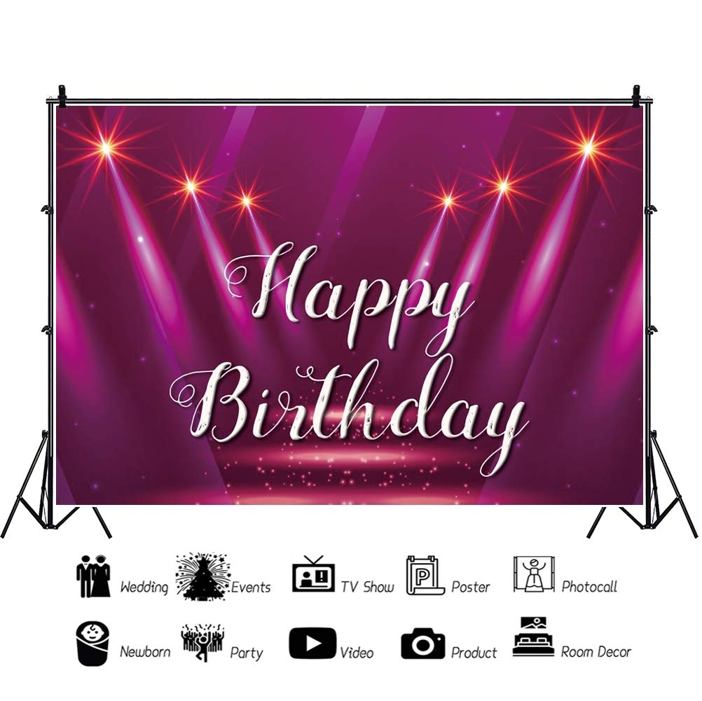Baocicco 7x5ft Polyester Happy Birthday Backdrop Purple Spotlight Bright Stage Glitters Photography Background Birthday Party Decorations for Girls Portrait Studio Props