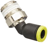 """Legris 3113 06 13 Nylon & Nickel-Plated Brass Push-to-Connect Fitting, 45 Degree Elbow, 6 mm Tube OD x 1/4"""" BSPT Male"""