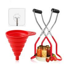 Canning Jar Lifter Tongs And Silicone Collapsible Funnel Stainless Steel Jar Lifter with Long Grip Handle Foldable Wide Mouth Funnel Canning Kits EssentialsHousehold Canned Set With Hooks