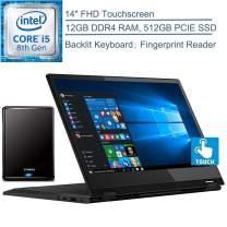 "2020 Lenovo Flex 14 2-in-1 14"" FHD Touchscreen Laptop Computer, Intel Quad-Core i5-8265U Up to 3.4GHz (Beat i7-7500U), 12GB DDR4 RAM, 512GB PCIe SSD, Windows 10, YZAKKA 500GB External Hard Drive"