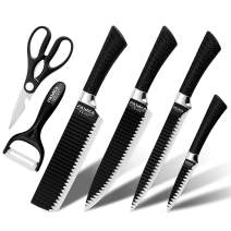 FASAKA 6 Pcs Black Kitchen Knife Set, Stylish, Sleek, Modern and Asian Décor, Stainless Steel Cutlery with Kitchen Scissors, Ceramic Peeler and 4 Heavy Duty Knives, Chef Gift in Decorative Box