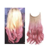 Ombre Halo Hair Extension Beach Blonde to Pink for Women Girl Curly Long Synthetic Hairpiece Hidden Wire Headband 16 Inch 3.9 Oz Heat Resistant Fiber No Clip SARLA(M03&613Tpink)