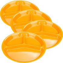AIYoo Reusable Dinner Plates, 4 Pack BPA Free 10.25'' Plastic Divided Plates for Adults/Kids Camping Plate with 3-Compartment Dinner Plates with Dividers Dishwasher Safe