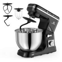 MURENKING Stand Mixer, 5-Qt 6-Speed Dough Mixer, 500W Tilt-Head Kitchen Mixer (Dough Hook and Beater with Teflon, Whisk) (Black)