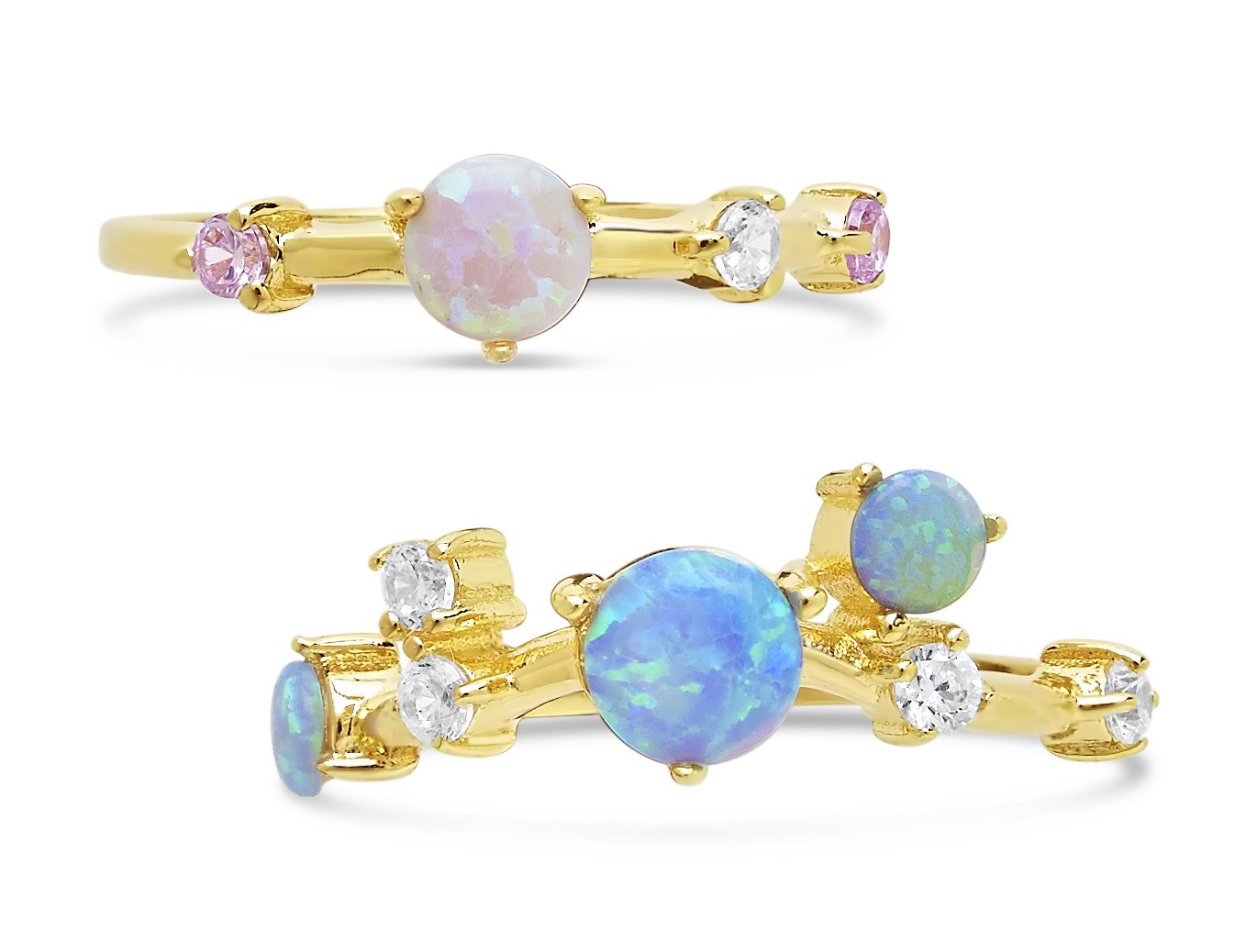 Sterling Forever - Gold Vermeil Created Opal CZ Stackable Rings, Set of 2