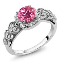 Gem Stone King Pink Mystic Topaz 925 Sterling Silver Women's Ring 1.32 Ct (Available 5,6,7,8,9)