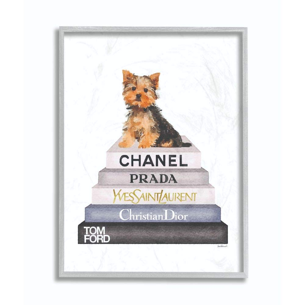 Stupell Industries Book Stack Yorkie Dog Glam Fashion Watercolor Grey Framed Wall Art, 11 x 14, Design by Artist Amanda Greenwood