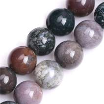 GEM-Inside Natural 20mm Indian Agate Gemstone Loose Beads Round Crystal Energy Stone Power for Jewelry Making 15''