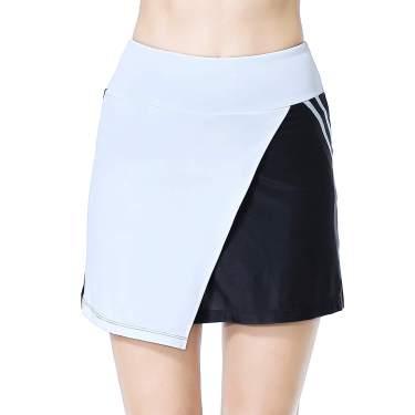 Women Tennis Skirted Leggings Pockets Elastic Sports Yoga Capris Skirts Legging