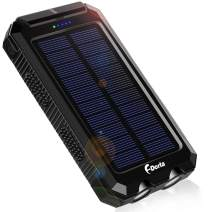Solar Charger, F.Dorla 10000mAh Portable Solar Power Bank, Dual 5V USB Ports Output, Waterproof, Camping External Backup Battery Pack, 2 Led Light Flashlight with Compass (Black)