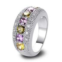 Narica 925 Sterling Silver Plated Peridot & Tourmaline Ladies Eternity Love Cocktail Ring Wedding Band CZ Sizes 8