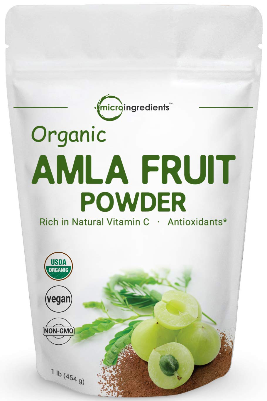 Organic Amla Powder (Amalaki),1 Pound (16 Ounce), Natural Vitamin C, Antioxidant and Flavonoids, Strongly Supports Immune System, Energy and Fat Burn, Non-GMO and Vegan Friendly