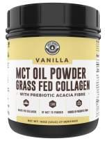 Keto MCT Powder + Collagen + Prebiotic Acacia Fibre, Vanilla, 16oz   MCT Creamer, Pure MCT Oil Powder from Coconuts. MCT Collagen Powder, Grass Fed, Perfect for Keto, 1 Net Carb, Stevia, Erythritol