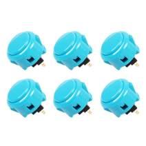 Sanwa 6 pcs OBSF-30 Original Push Button 30mm - for Arcade Jamma Video Game & Arcade Joystick Games Console (Light Blue)