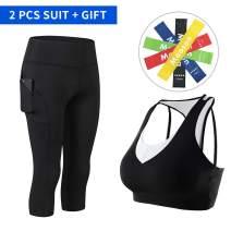 2PCS Women 3/4 Leggings Pocket, Workout Tights + Sports Bras【Resistance Bands】