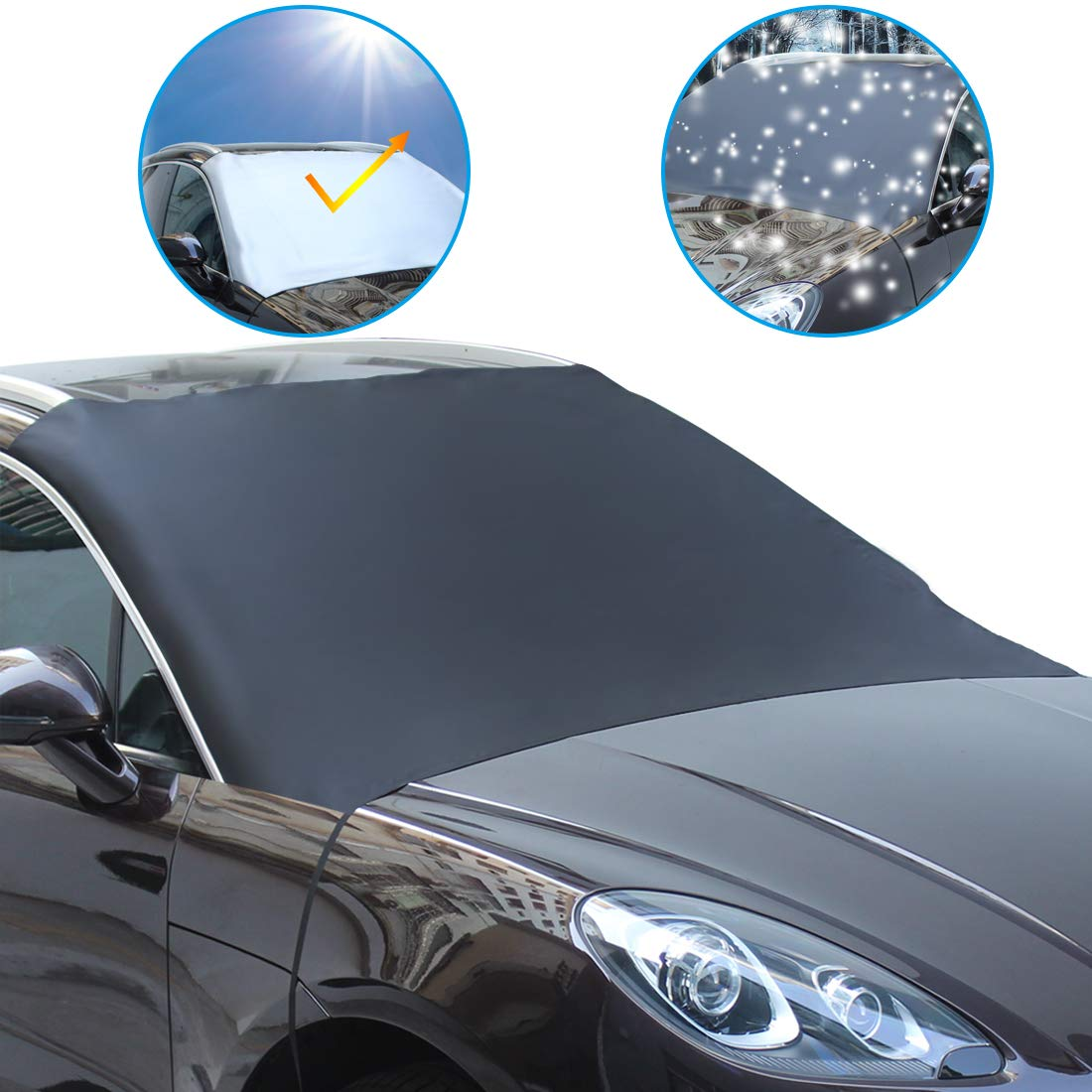 KMMIN Snow Cover Windproof Magnetic Ice Frost Sun Windshield Protector for Cars SUVS Trucks Vans with Easy Installation and Storage Bag