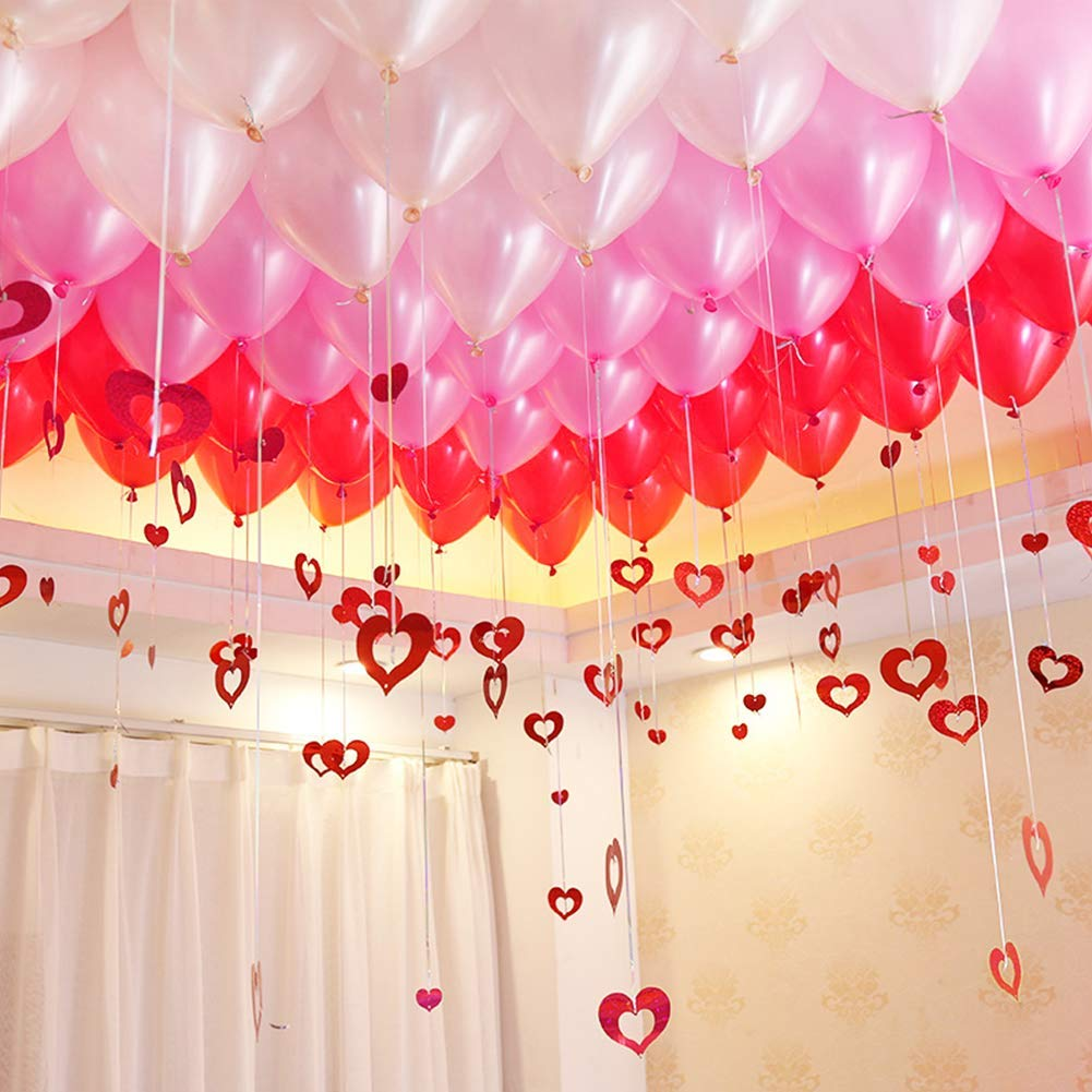 """UTOPP 100 Pack Red Pink White Balloons Kit, Valentines Day and Wedding Decorations, 12"""" Assorted Colors Balloons with Foil Red Heart Hanging String for Confession Galentines Anniversary Engagement"""