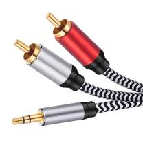 RCA Cable 30 ft, JewMod 3.5mm Male to 2RCA Male Stereo Audio Adapter Cable Nylon Braided AUX RCA Y Cord for Smartphones, MP3, Tablets, Speakers, HDTV and More