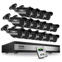 ZOSI 16Channel 1080P HD Security Cameras System,16CH 4-in-1 1080P HD-TVI DVR with 4TB Hard Drive and 16pcs 2.0MP 1080p Waterproof Surveillance Bullet Cameras with 120ft Long Night Vision