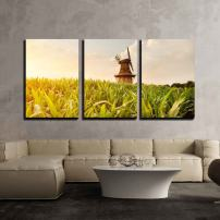 "wall26 - 3 Piece Canvas Wall Art - The Holtlander Mill in Holtland Near Hesel, East Frisia - Modern Home Decor Stretched and Framed Ready to Hang - 16""x24""x3 Panels"