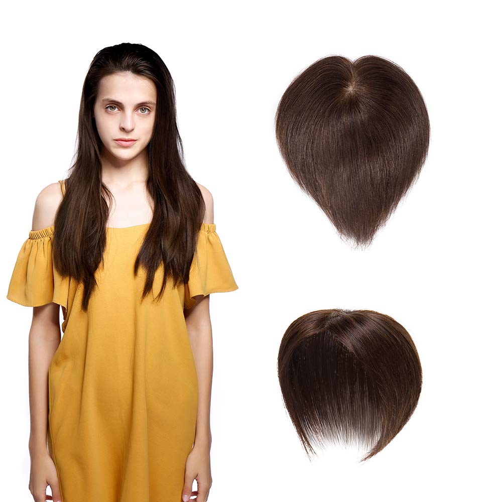 SEGO Hair Topper Pieces Silk Base Real Human Hair Clip in Top Hairpieces for Women Replacement Hand-made 100% Density for Hair Loss Thinning Covering Grey Hair #4 Medium Brown 16''20g