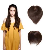 SEGO Hair Topper Pieces Silk Base Real Human Hair Clip in Top Hairpieces for Women Replacement Hand-made 100% Density for Hair Loss Thinning Covering Grey Hair #4 Medium Brown 18''20g