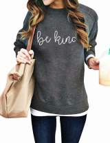 Be Kind Sweatshirt Women Letter Print Long Sleeve Crewneck Loose Inspirational Graphic Pullover Sweatshirt Top