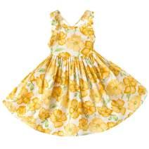 LYXIOF Girls Floral Dress Toddler Summer Backless Sundress Vintage Princess Dress