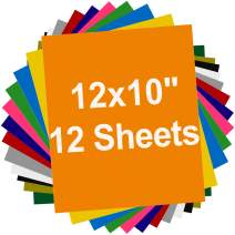 """Heat Transfer Vinyl 12x10"""" - 12 Sheets for Iron On T-Shirts, 12 Assorted Colors, Works with Silhouette Cameo, Cricut and Other Heat Press Machines"""