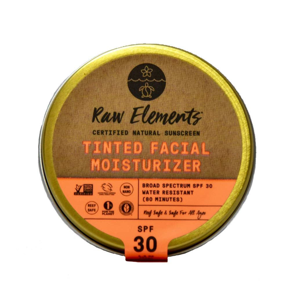 Raw Elements Tinted Facial Moisturizer Certified Natural Sunscreen | Non-Nano Zinc Oxide, 95% Organic, Very Water Resistant,Reef Safe,Non-GMO, Cruelty Free,SPF 30+, All Ages Safe, Reusable Tin, 1.8oz