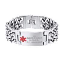 Medical Alert Bracelets for Adults Men Titanium Steel Free Engraving Emergency Jewelry