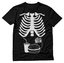 Halloween Rib Cage Skeleton Junk Food Belly Xray Funny Men's T-Shirt XXX-Large Black